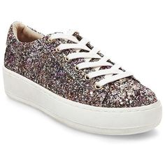 Steve Madden Bertie Glitter Platform Sneaker ($79) ❤ liked on Polyvore featuring shoes, sneakers, multi colored, glitter sneakers, multi color shoes, rubber sole shoes, platform sneakers and multi colored sneakers