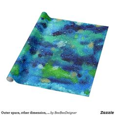 Shop Outer space, other dimension, same stars. wrapping paper created by BeeBeeDeigner. Lost Stars, Watercolor Galaxy, Custom Wrapping Paper, Green Pattern, Outer Space, Galaxies, Watercolor Paintings, Create Your Own, Wraps
