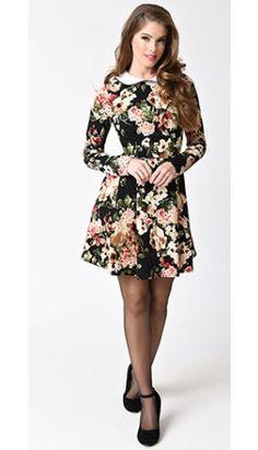 Retro Style Black & Floral Print Long Sleeve Flare Dress