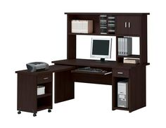 Shop Acme Furniture Linda Espresso Computer Desk Set with great price, The Classy Home Furniture has the best selection of to choose from Office Desk With Hutch, Cool Office Desk, Home Office Computer Desk, Computer Desk With Hutch, Desk Hutch, Computer Desks, Office Set, Acme Furniture, Home Office Furniture