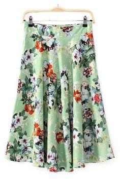 Green Floral ~ Cute Skirt