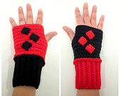 Harley Quin crochet fingerless gloves