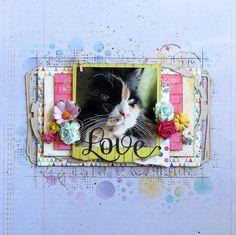 Pas à pas - Défi page d'avril Cat Sketch, Avril, Scrapbooking Layouts, A4, Birds, Invitations, Crafty, Pets, Animals