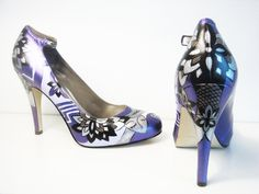 Purple Lady Pumps - Hand Painted Heels