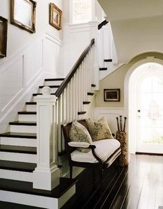 ARTICLE: When Designing On Trend Is NOT Appropriate... | Image Source: Seriously A Homemaker | CLICK TO READ... http://carlaaston.com/designed/trendy-design-is-not-always-appropriate | (KWs: stairway, stairs, trend, design, iron railing, wood railing)