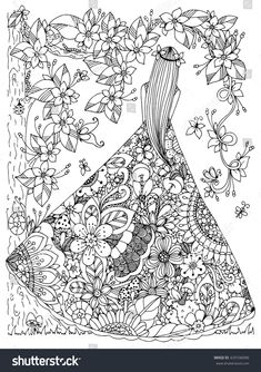 girl in a floral dress doodle flowers tree zen coloring page Davlin Publishing… Coloring Pages For Grown Ups, Free Adult Coloring Pages, Printable Coloring Pages, Colouring Pages, Coloring Books, Flower Doodles, Doodle Flowers, Zen Colors, Doodle Coloring