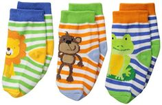Jefferies Socks Baby Boys Jungle Lion Monkey Frog 3 Pair Pack Socks Multi Infant * Check this awesome product by going to the link at the image.Note:It is affiliate link to Amazon.
