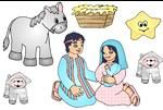 Nativity stickers for children!  Print this page on Inkjet sticker papre or magnetic sheets for Nativity stickers or a Nativity magnetic play set for preschool children!  It goes with the stable picture above.