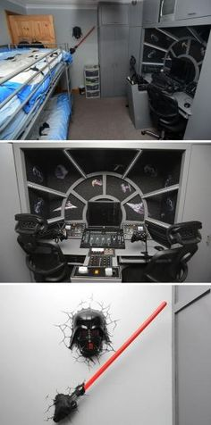 Kids bedroom is transformed into a 'Star Wars' extravaganza. The ultimate bed room for young Star Wars fans. Two boys got the surprise of their lives when their dad changed their room into a Star Wars fantasy. Star Wars Decor, Decoration Star Wars, Star Wars Zimmer, Star Wars Bedroom, Boy Star Wars Room, Star Wars Party, Kids Bedroom, Geek Bedroom, Bedroom Ideas