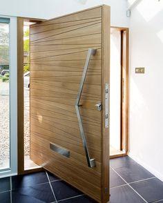 Modern Front Door Solid Wood Pivot Entry Door With Frosted Glass Door Gate Design, Door Design Interior, Main Door Design, Front Door Design, Modern Entrance Door, Modern Front Door, Wood Front Doors, Entry Doors, Entryway