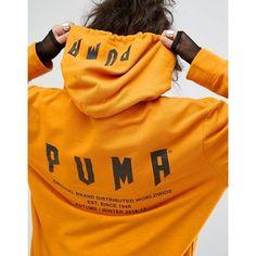 Puma Exclusive To ASOS Statement Oversized Hoodie (€61) ❤ liked on Polyvore featuring tops, hoodies, hooded sweatshirt, tall tops, orange hoodie, tall hoodie and oversized hoodie
