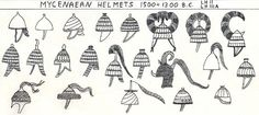 Achaean and Aegean helmets, 1500-1300 B.C. Based on pottery, fresco, sculpture representations and partial findings.