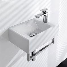 Ce lave-mains rectangulaire est idéal pour des toilettes qui manquent de place (40x26cm). Il est disponible en 3 couleurs: edelweiss, blanc ou noir glossy.