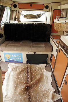 Westy interior w/ Deerskin rug, via Flickr.