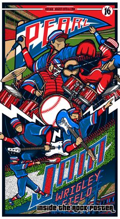 Pearl Jam Brad Klausen Wrigley Field Chicago Poster Variant Exclusive