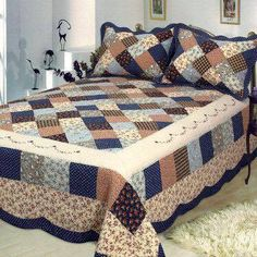 Sweet dreams will find you easily as you snuggle in underneath the Williamsburg Dream Patchwork Quilt Bedding. The handcrafted, cotton Patchwork Bed Quilt. Primitive Quilts, Amish Quilts, Easy Quilts, Patch Quilt, Rag Quilt, Quilt Bedding, Colchas Country, Country Quilts, Quilt Block Patterns