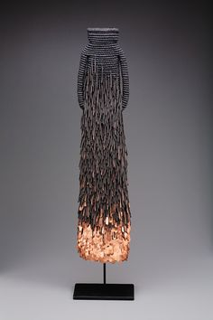 "Mary Giles ~ ""Sunrise Artifact"" Waxed linen, iron, copper *basketry coiling* 26 x x in. via Duane Reed Gallery Art Textile, Fibre Textile, Textile Artists, Craft Museum, Art Sculpture, Textiles, Weaving Art, Wire Art, Wearable Art"