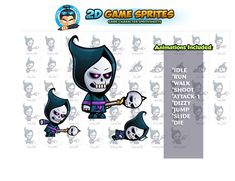 Skull Mage Game Sprites by DionArtworks on 2d Character Animation, Shooting Games, Game Assets, Sprites, Technology Logo, Character Illustration, Game Character, Disney Characters, Fictional Characters