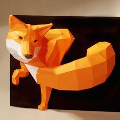 Fox  - 自分で組立てるキツネのペーパー製トロフィー by Paper Wolf