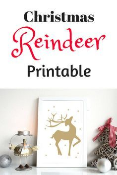 Christmas Printable | Reindeer Print | Christmas Poster | Instant Download | Gold Reindeer | Winter Decor | 8x10, A4 | Wall Art #afflink