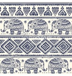 Ethnic elephant seamless vector - by transia on VectorStock®