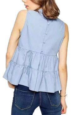 Specifications: Decoration:Button Clothing Length:Regular Sleeve Style:Regular Pattern Type:Solid Style:Fashion Fabric Type:Chiffon Material:Polyester Collar:Stand Sleeve Length:Sleeveless Color Style