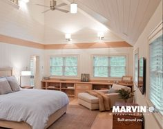 Located in the valley of a remotely forested 500-acre site, this family retreat renovation was a 2012 Marvin Architects Challenge winner. In his revamp, Donald Giambastiani retained the rustic character of the original home, which includes the remnants of a 19th century barn structure. Marvin Ultimate Awning, Wood Casement, and Double Hung windows add visual levels to the space.   - ELLEDecor.com