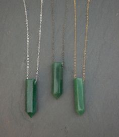 Polished Aventurine gemstone pendant on your choice of : Sterling Silver, Gunmetal or Gold Filled chain, on a custom length chain with a secure lobster closure.