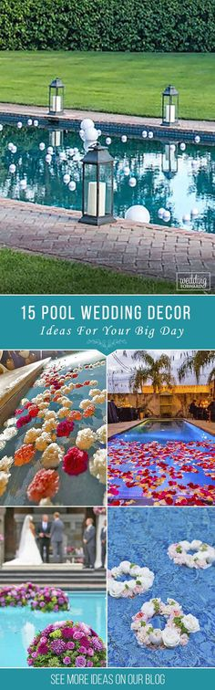 15 Pool Decor Ideas For Your Backyard Wedding ❤ There are modern methods to decorate pool. The most inexpensive are floating candles and flowers. See more: http://www.weddingforward.com/wedding-pool-party-decoration-ideas/ #wedding #decorations