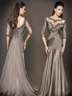 Mermaid Mother's Dresses with 3/4 Long Sleeve 2015 Cheap In Stock Sheer Illusion Neckline Evening Gowns Backless Mother of The Bride Dresses