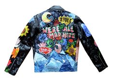 """Image of """"WE'RE ALL MAD HERE"""" HAND PAINTED, LEATHER BIKER"""