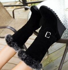 Women new fashion autumn winter warm fur snow boots scrub round toe 7.5cm high heels wedges buckle shoes