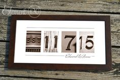 Personalized Wedding Gift Number Photo Art, Custom Sepia Wedding Date, Wedding Gift for Couples – Element 120 Photos