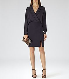 Sydney Night Navy Wrap Dress - REISS