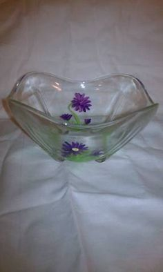 Hand Painted Glass Candy Dish by grammatoom on Etsy, $8.00
