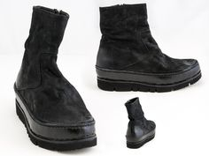 39 THE LAST CONSPIRACY - distressed leather platform ankle bootie in black, SKU: 0240950, $750 Contact BLU'S at shop@blus.com to order