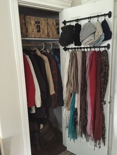 14 Small Closet organization Ideas Entryway closet storage Small Coat Closet Organizing outerwear in a pact space Hall Closet, Closet Rod, Closet Bedroom, Front Closet, Bathroom Closet, Master Closet, Bathroom Doors, Closet Doors, Bathroom Ideas