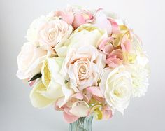wedding flower, bridal bouquet, wedding bouquet, keepsake bouquet, Brush Pink Off White Roses Peonies with Hints of Pink Hydrangea Bouquet