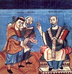 Raban Maur (gauche) soutenu par Alcuin (milieu) dédicace son oeuvre à l'archevêque Otgar de Mayence (droite)