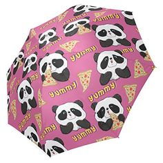 InterestPrint Happy Panda Pizza Pink Foldable Travel Rain Umbrella >>> Check out this great product.