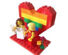 Gay Lesbian Wedding Cake Topper Customised Lego by HeartOfBricks