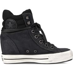 Converse Chuck Taylor Platform Plus Collar – black Sneakers ($75) ❤ liked on Polyvore featuring shoes, sneakers, converse, black, wedges shoes, platform wedge shoes, platform wedge sneakers, converse sneakers and black wedge sneakers