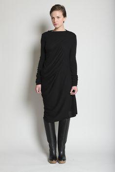 Rick Owens Lilies, Long Sleeve Drape Back Dress