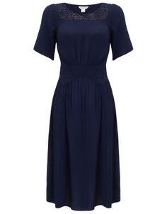 Lorenza Lace Insert Dress | Navy | Monsoon