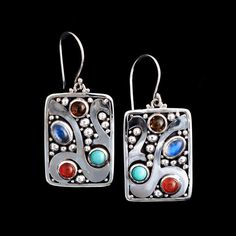 Multi Gemstone Balinese Earrings- Sterling Silver, Moonstone, Turquoise, Amber, Carnelian