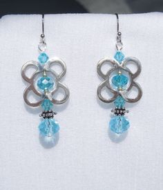 Sterling silver drop earrings with light turquoise crystals and glass beads by ParkhillDesigns on Etsy