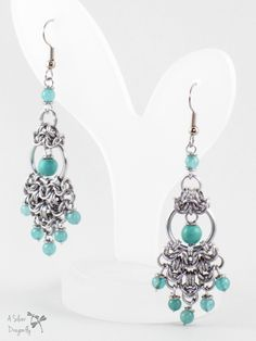 Dense Byzantine Chainmaille Chandelier Aluminum Jewelry Gift for Woman, Sea Green Turquoise and Jade Beaded Earrings