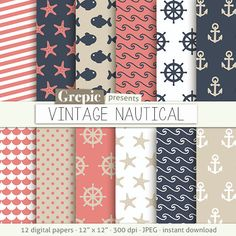 Coral Anchor Clip Art | Nautical digital paper / vintage nautical clip art with…