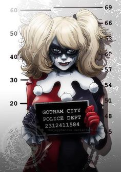 batman (series) blonde hair blue eyes bodysuit chains cowboy shot cuffs dc comics domino mask female frills gloves handcuffs harley quinn height chart holding holding sign jay phenrix lipstick looking at viewer makeup mask mugshot ruff sign smug solo Comics Anime, Dc Comics, Gotham City, Catwoman, Wonder Woman Comics, Comic Books Art, Comic Art, Marvel Dc, Harley Quinn Et Le Joker