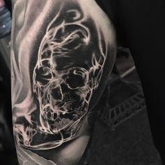 Smoke skull Tattoo by David Baldaro (Devs) Grim Reaper Tattoo, Skulls, Tattoo Designs, David, Smoke, Portrait, Tattoos, Ideas, Tatuajes